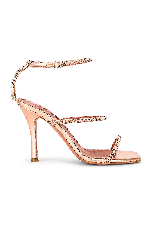 Image 1 of AMINA MUADDI Gilda Hologram Leather Sandal in Peach