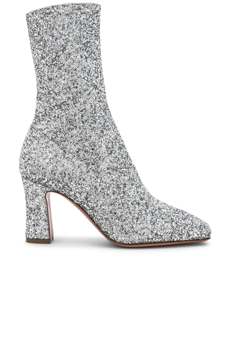 Image 1 of AMINA MUADDI Glitter Stretch Sabrina Ankle Boots in Silver