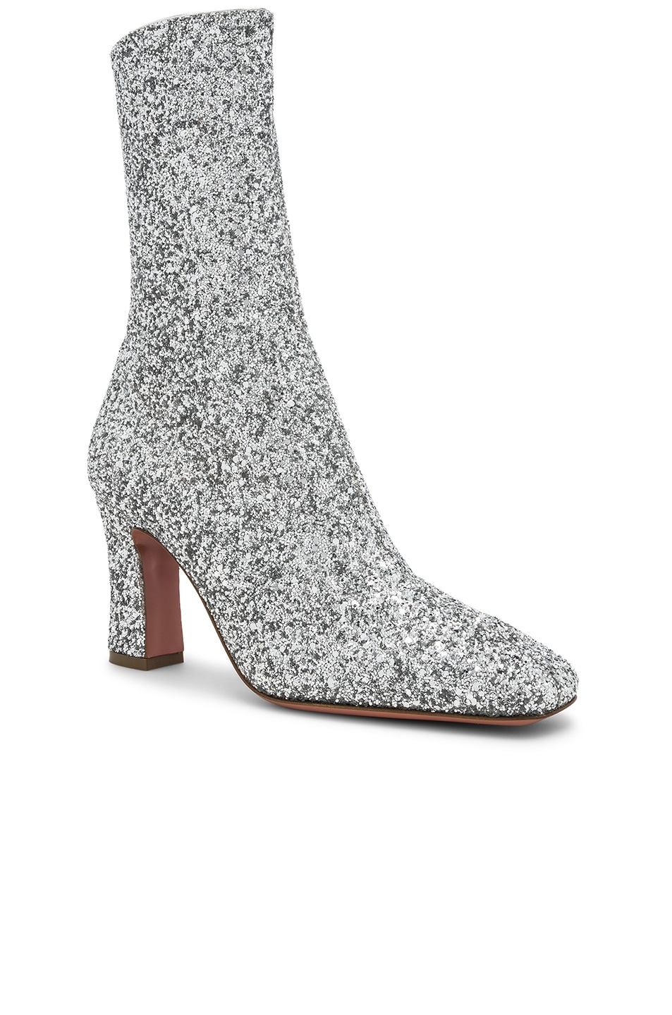 Image 2 of AMINA MUADDI Glitter Stretch Sabrina Ankle Boots in Silver