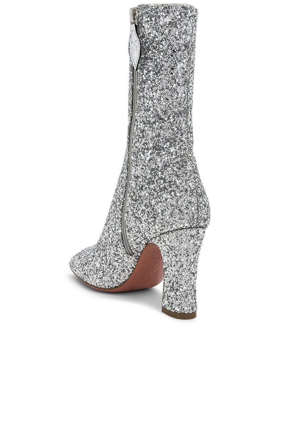 Image 3 of AMINA MUADDI Glitter Stretch Sabrina Ankle Boots in Silver