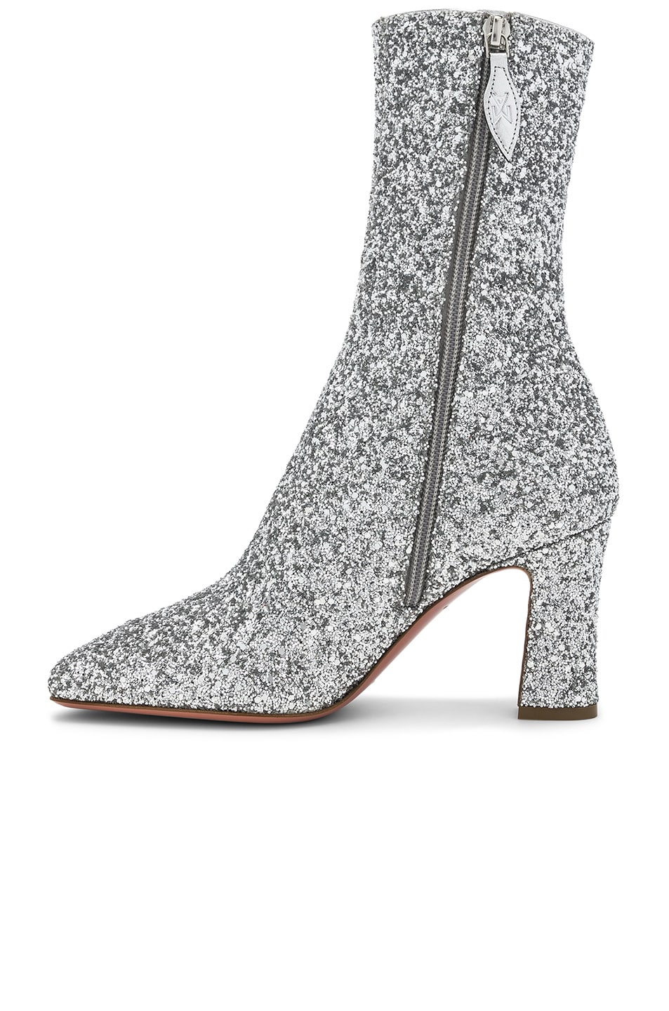 Image 5 of AMINA MUADDI Glitter Stretch Sabrina Ankle Boots in Silver