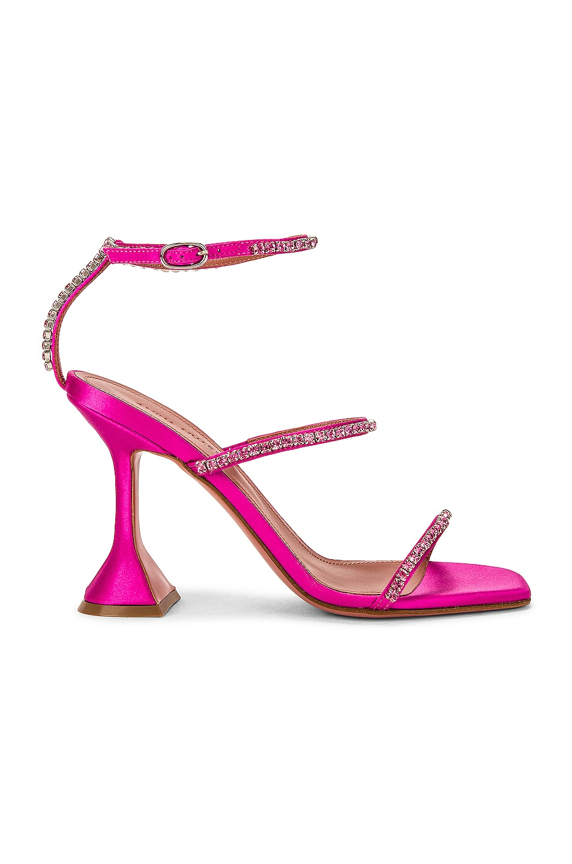 Image 1 of AMINA MUADDI Gilda Satin Sandal in Pink