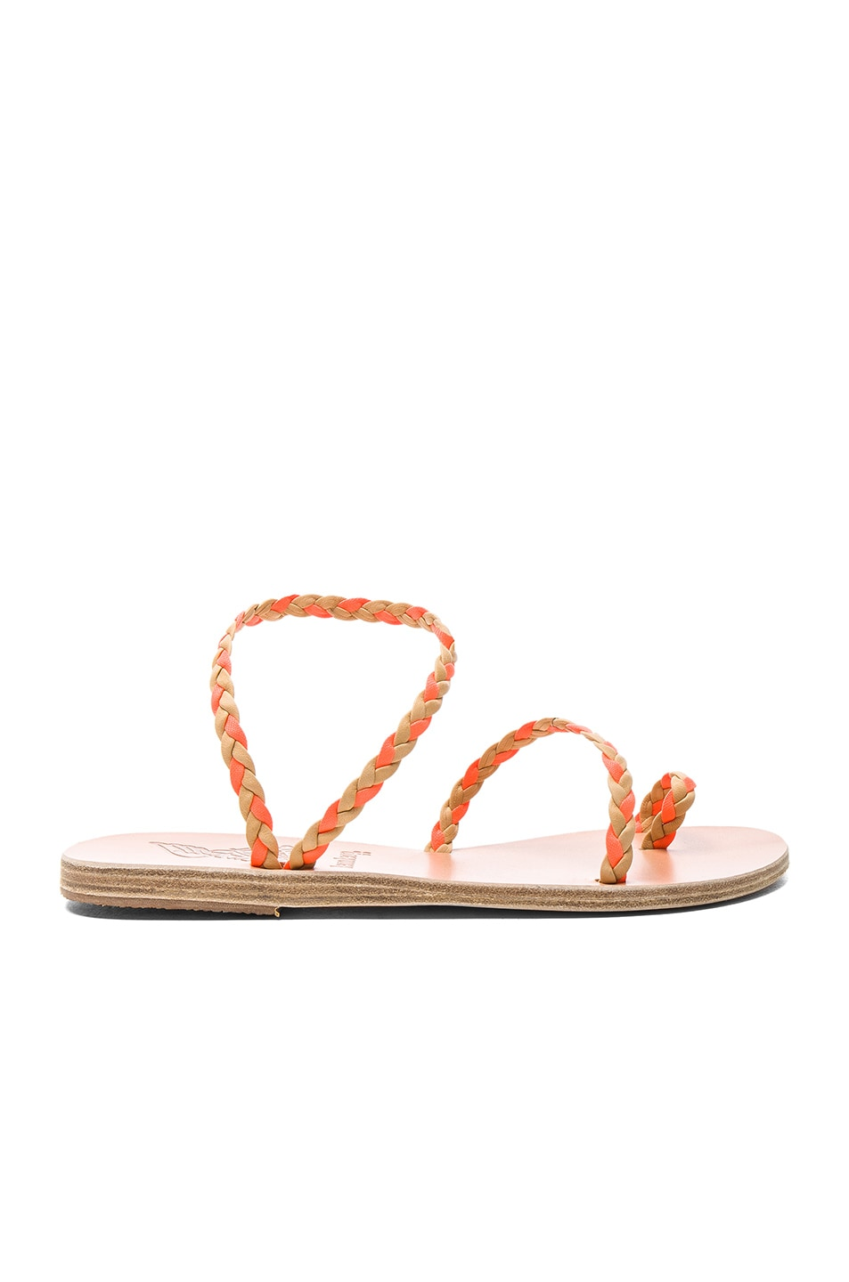 Image 1 of Ancient Greek Sandals x Lemlem Leather Eleftheria Braids Sandals in Natural & Neon Orange