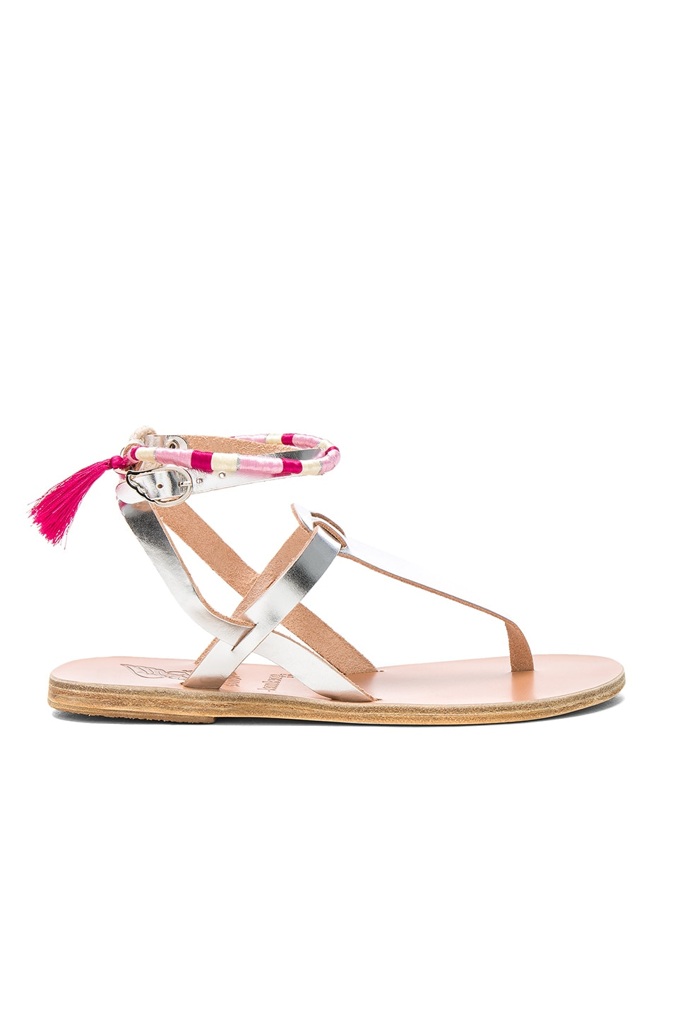 Image 1 of Ancient Greek Sandals x Lemlem Metallic Leather Estia Wrap Sandals in Silver & Pink