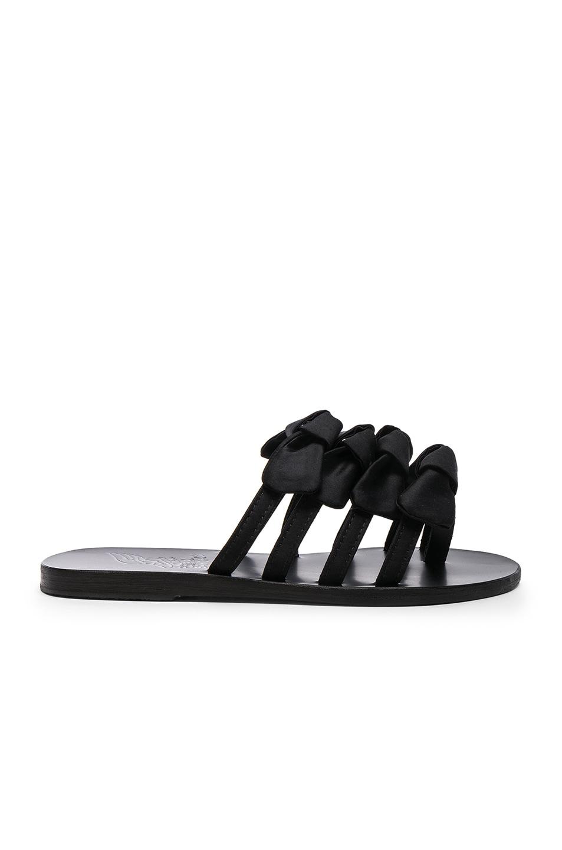 Ancient Greek Sandals White and black hara satin and leather sandals NaHgUn6hW