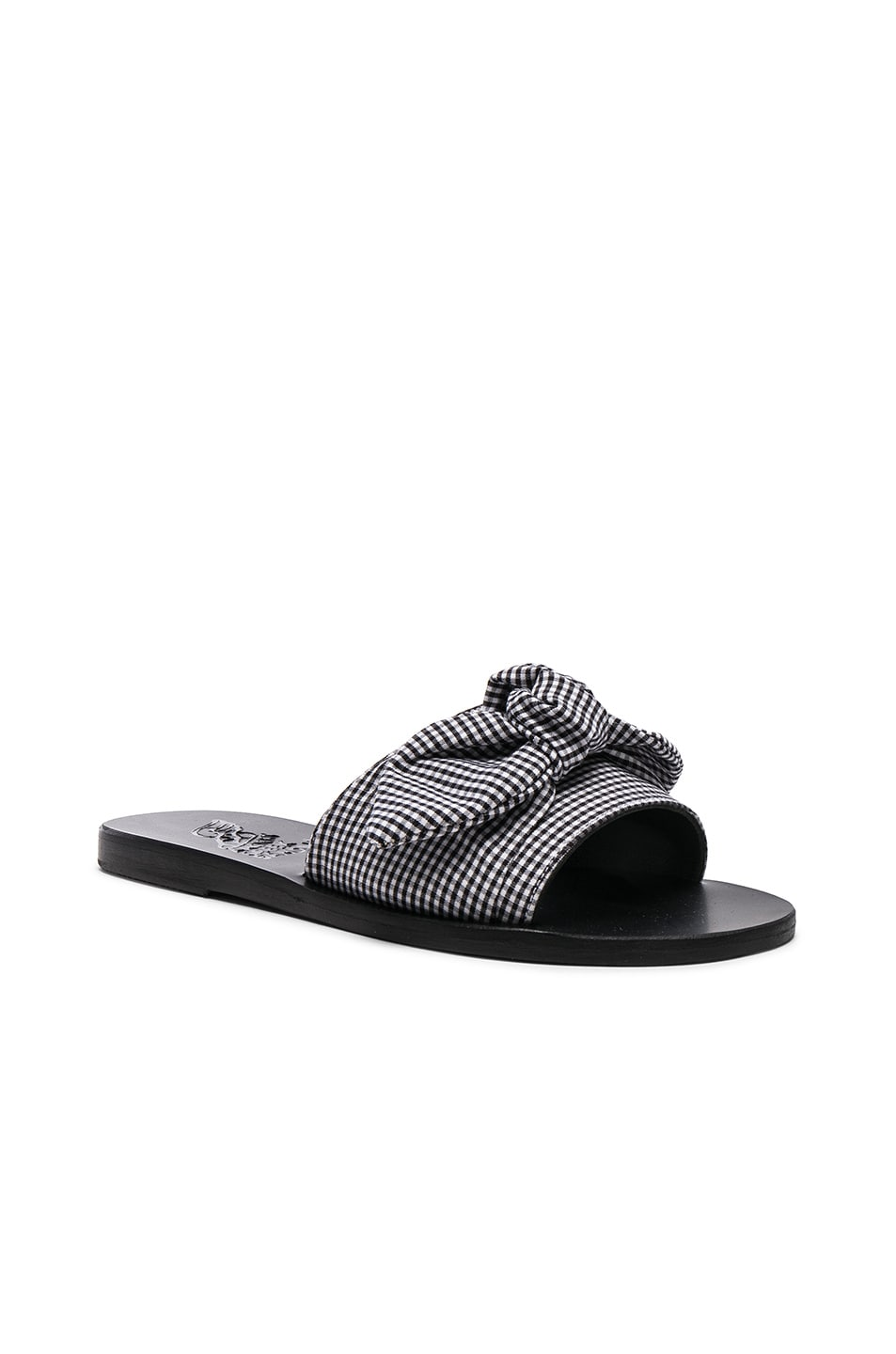 595f95bc1277b Image 2 of Ancient Greek Sandals Gingham Taygete Bow Sandals in Gingham  Black