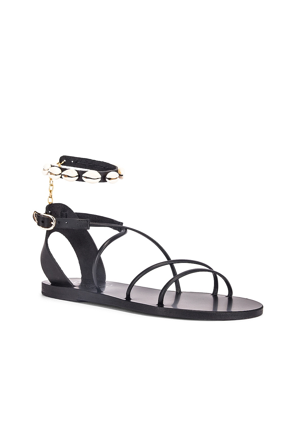 Image 2 of Ancient Greek Sandals Meloivia with Shells Sandals in Black