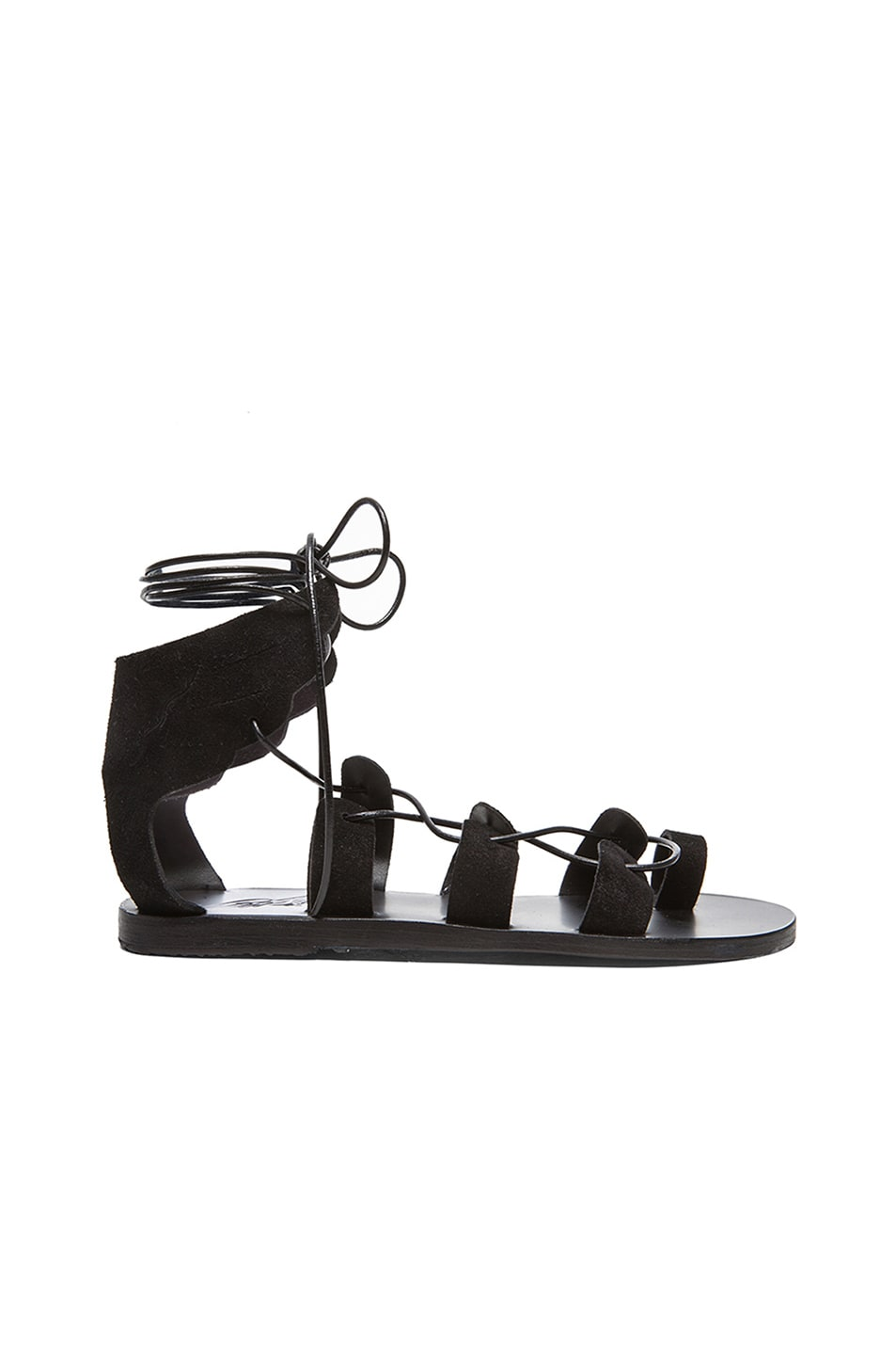 Image 1 of Ancient Greek Sandals Fteroti Suede Sandals in Black Crosta