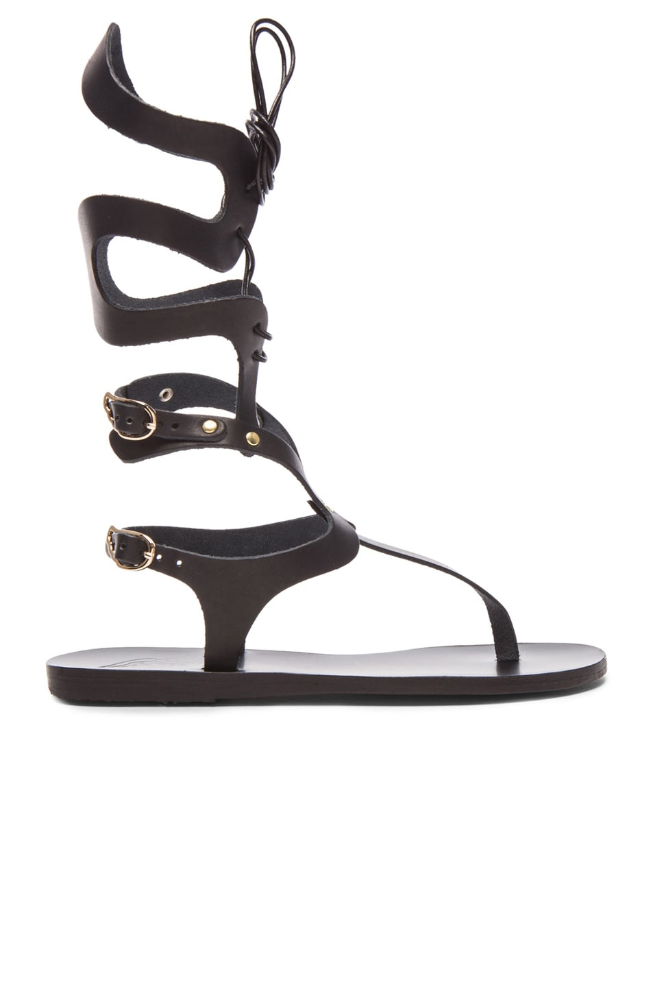 Image 1 of Ancient Greek Sandals Kori Mid Leather Sandals in Black