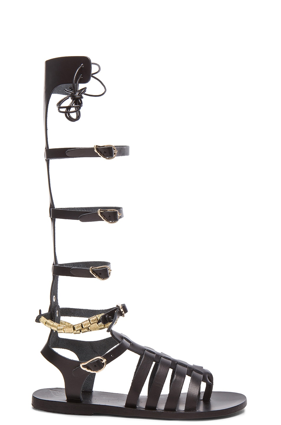 Image 1 of Ancient Greek Sandals Iliada Leather Sandals in Black