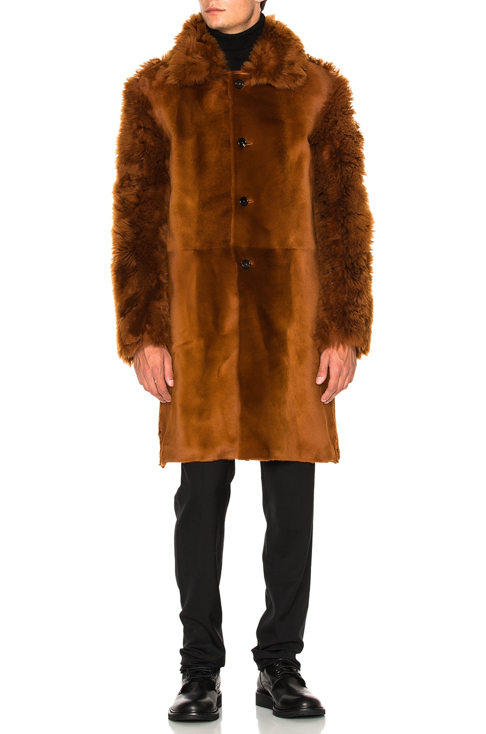 Image 2 of Ann Demeulemeester Sheep Fur Jacket in Rust