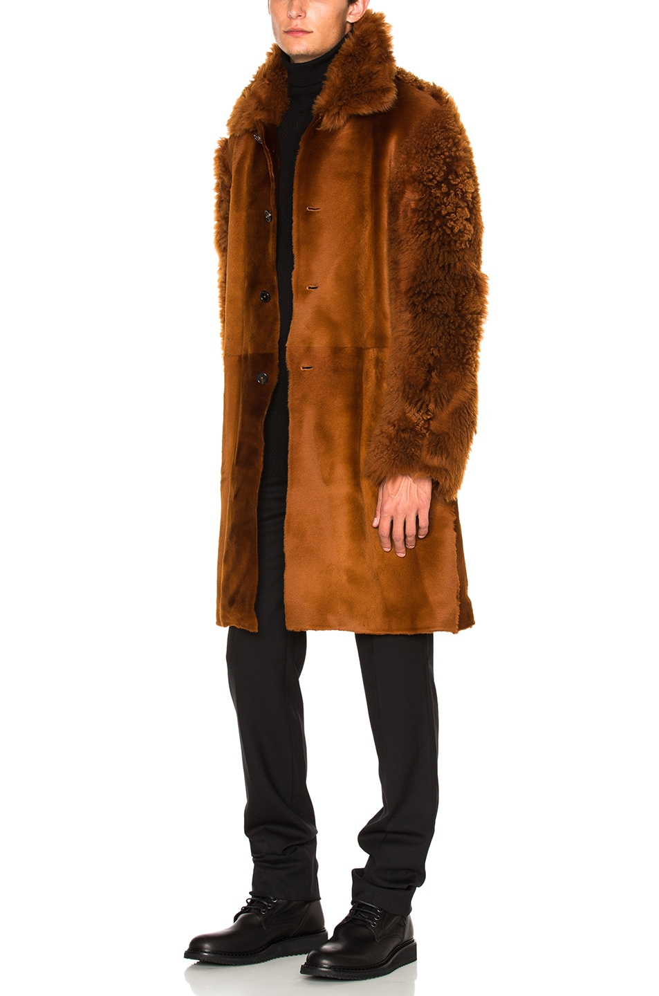 Image 3 of Ann Demeulemeester Sheep Fur Jacket in Rust