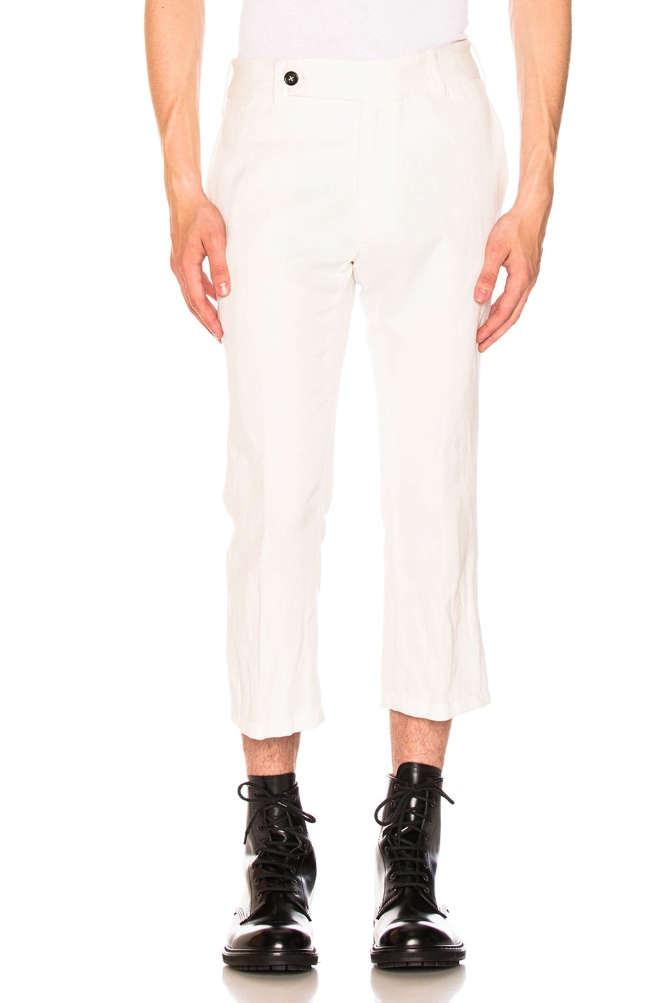 Image 1 of Ann Demeulemeester Flat Front Trousers in Off White