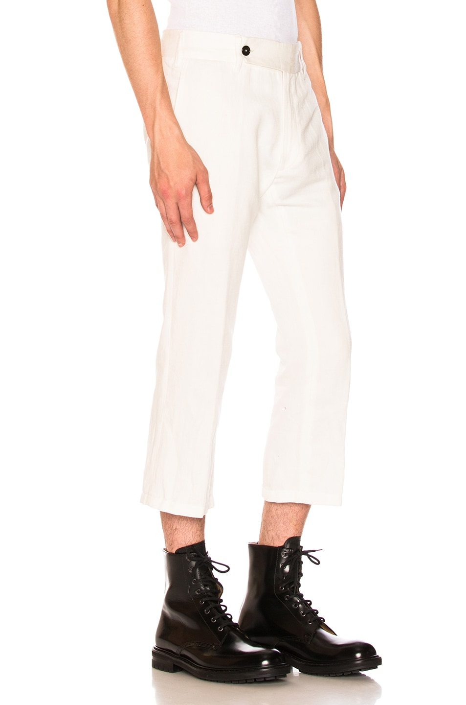 Image 2 of Ann Demeulemeester Flat Front Trousers in Off White