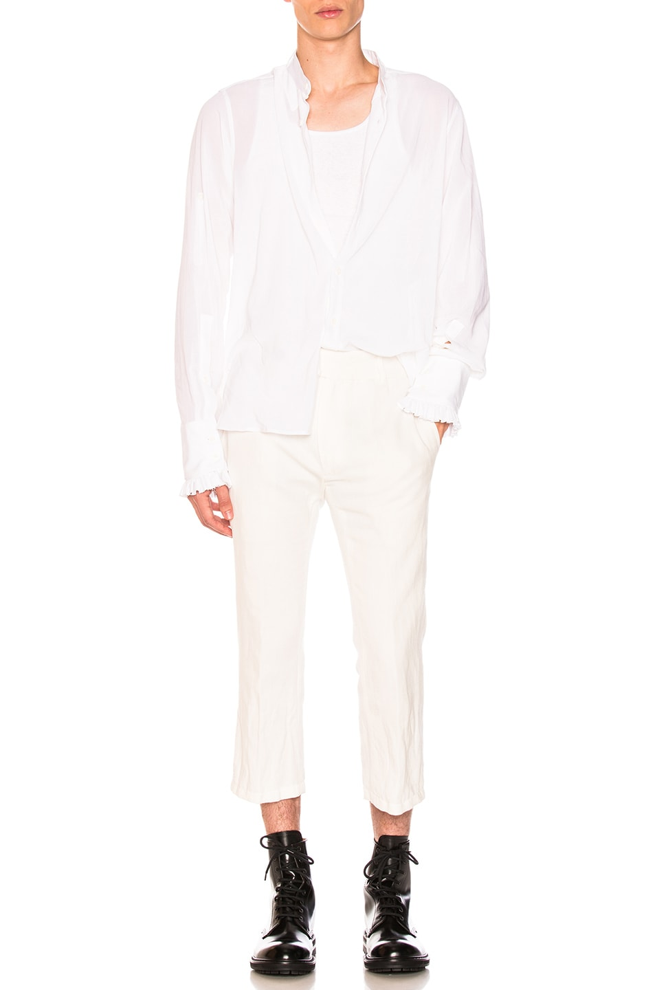 Image 4 of Ann Demeulemeester Flat Front Trousers in Off White