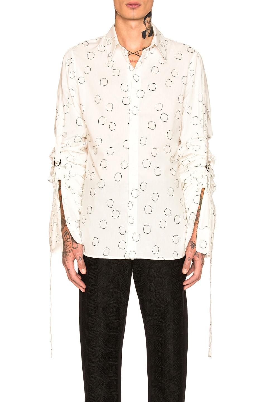 Image 1 of Ann Demeulemeester Long Sleeve Shirt in White & Black