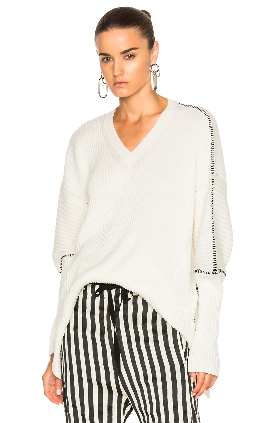 Image 1 of Ann Demeulemeester V Neck Sweater in Off White