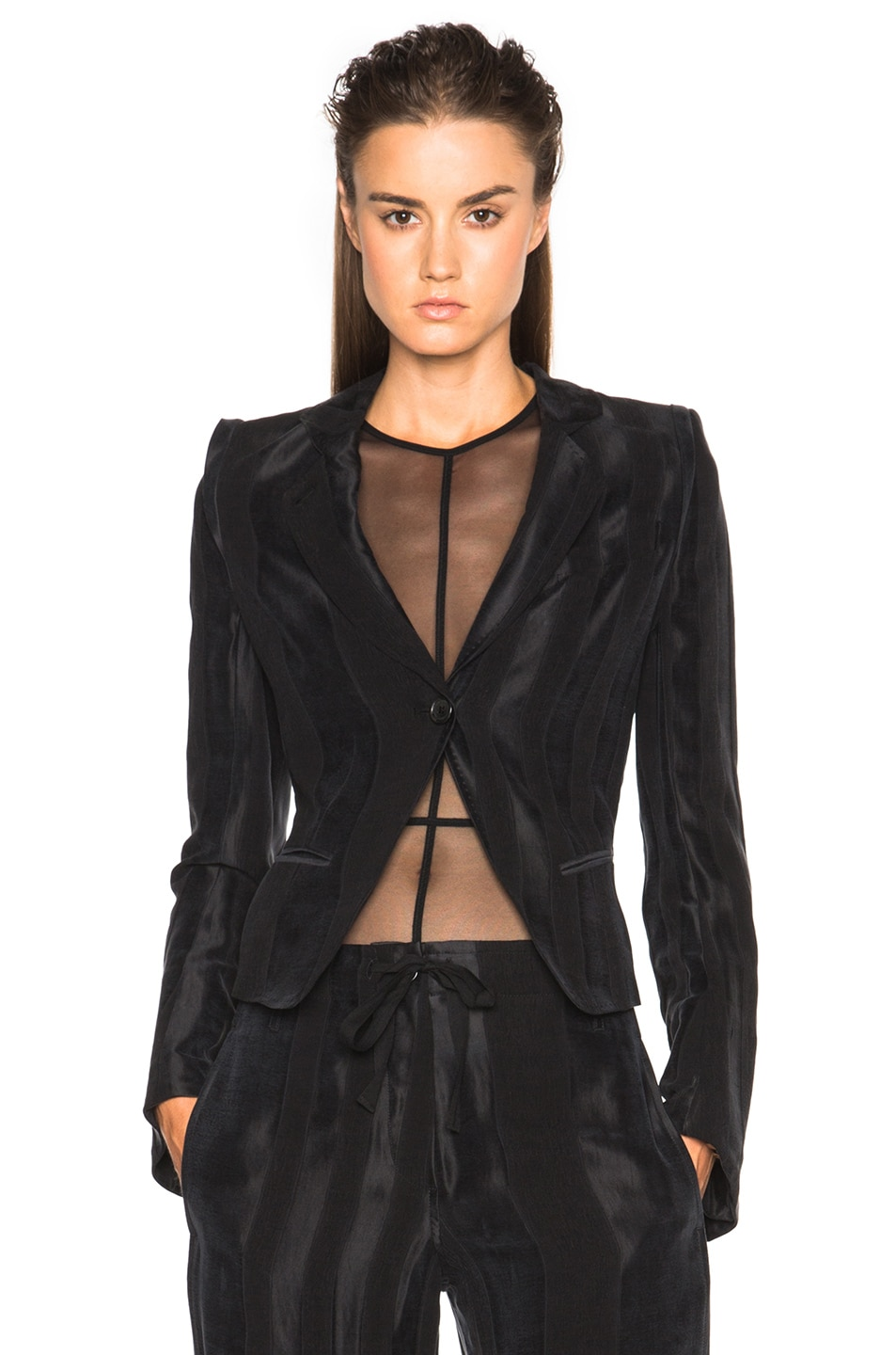 Image 1 of Ann Demeulemeester Classic Stripe Satin Jacket in Black