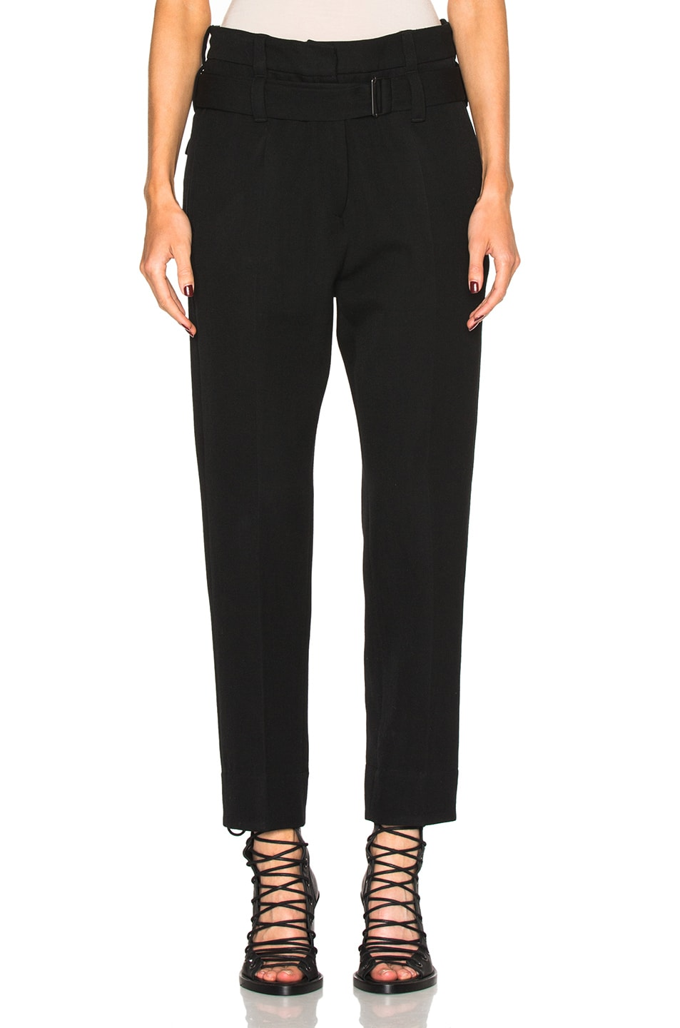 Image 1 of Ann Demeulemeester High Waisted Belted Trousers in Black