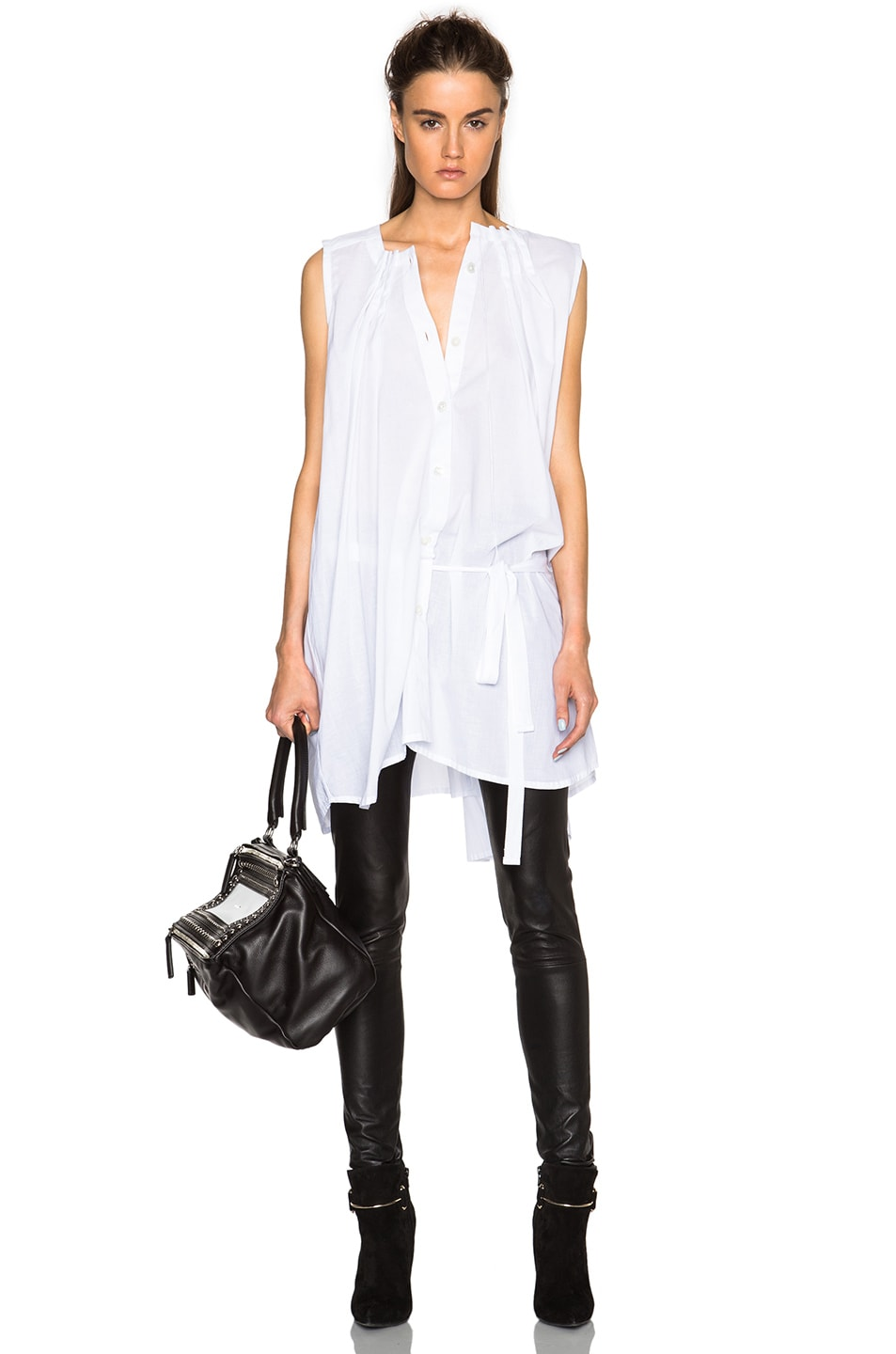 Image 1 of Ann Demeulemeester Pleated Poplin Tunic in White