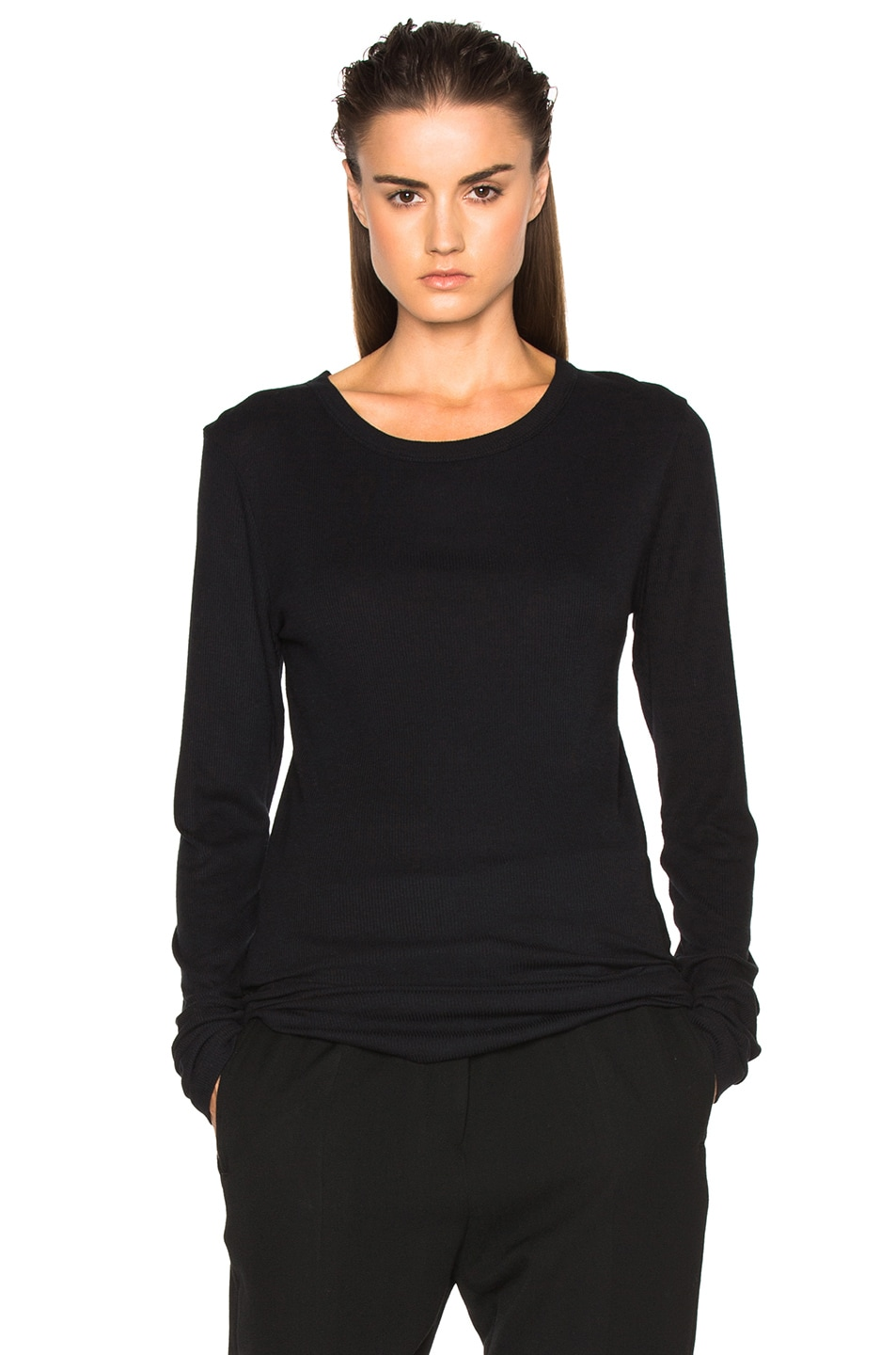 Image 1 of Ann Demeulemeester Long Sleeve Tee in Black