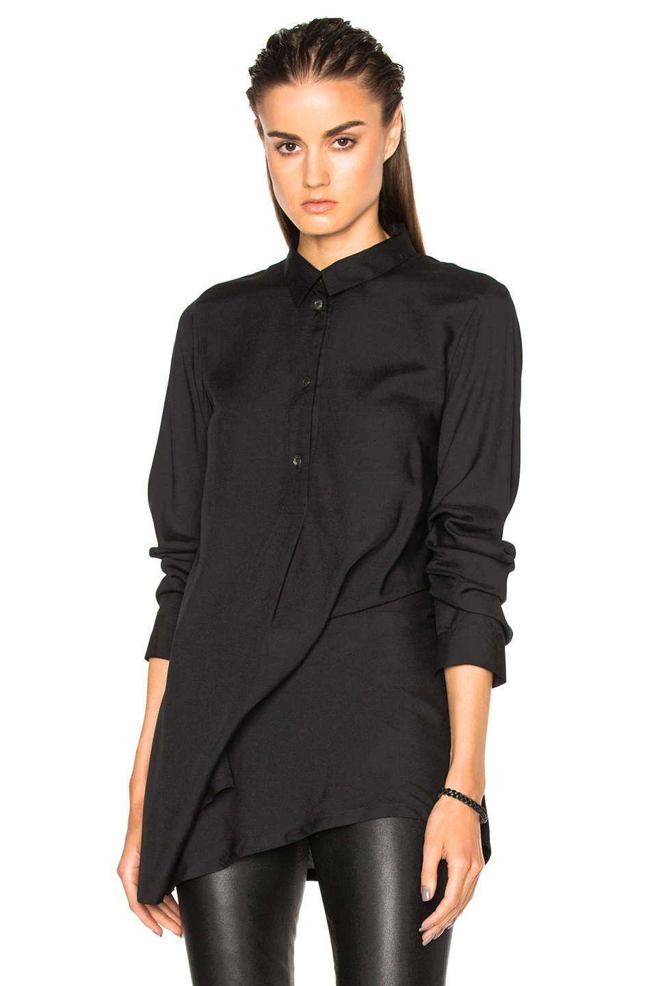 Image 1 of Ann Demeulemeester Asymmetric Popover Top in Black