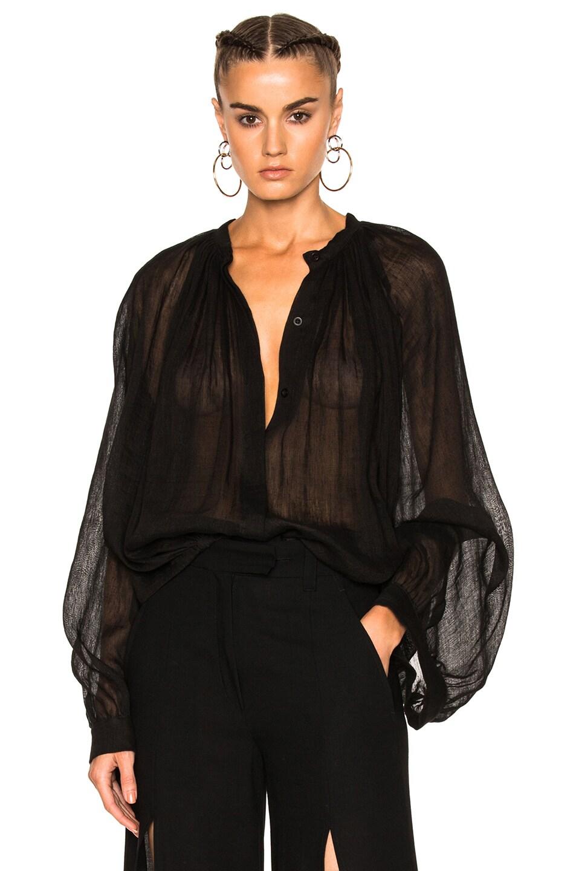 Image 1 of Ann Demeulemeester Gauze Voluminous Blouse in Black