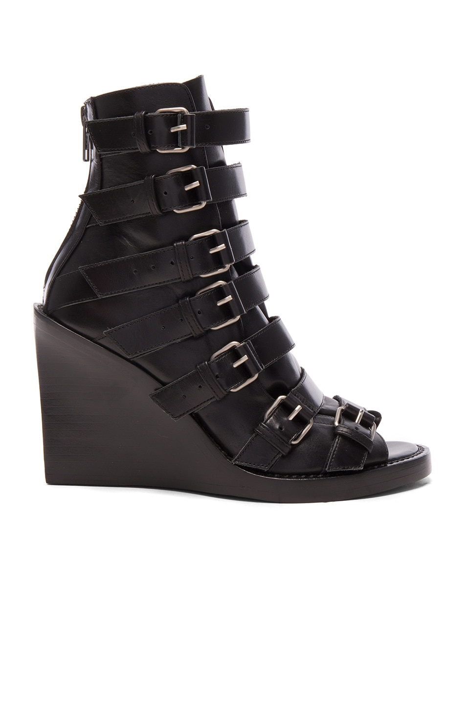 Image 1 of Ann Demeulemeester Leather Buckle Sandals & Silver in Black