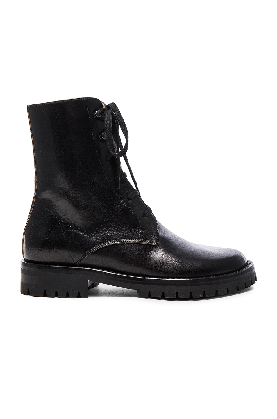 Image 1 of Ann Demeulemeester Leather Combat Boots in Black