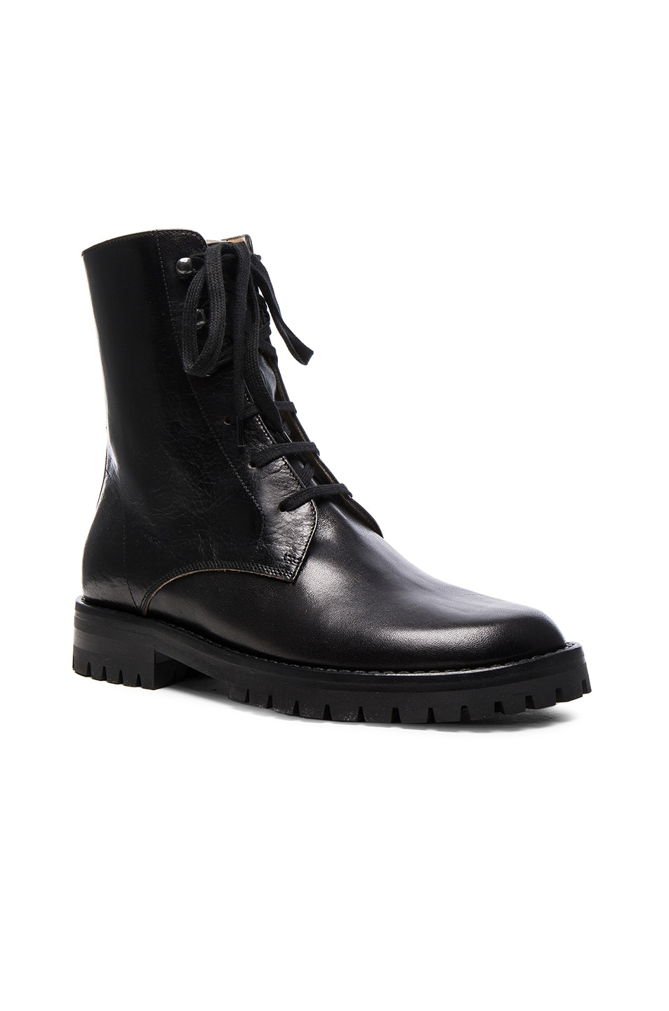 Image 2 of Ann Demeulemeester Leather Combat Boots in Black