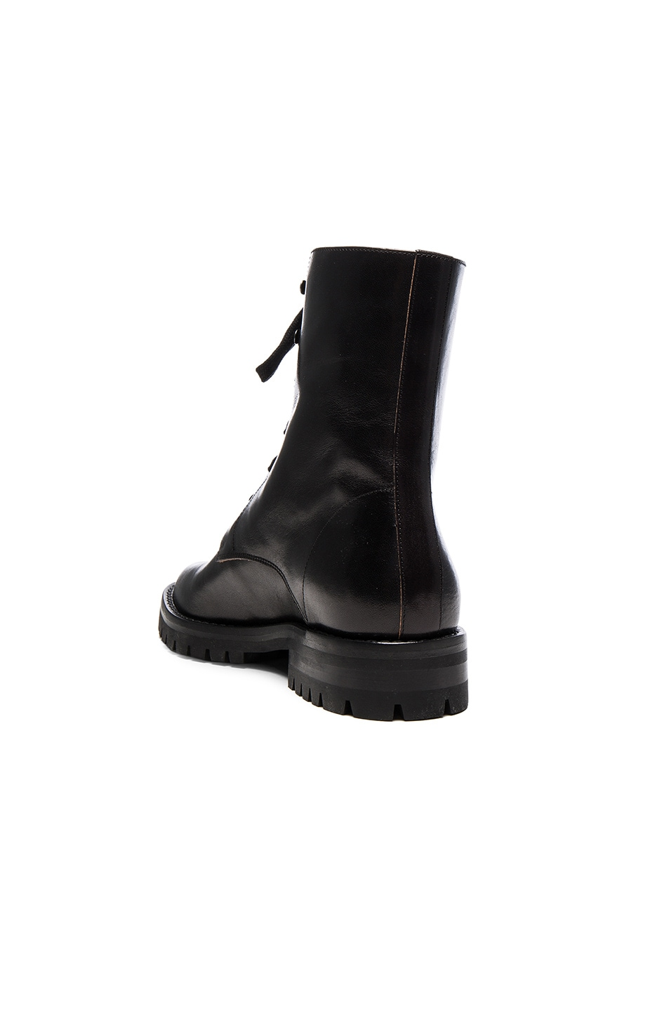 Image 3 of Ann Demeulemeester Leather Combat Boots in Black