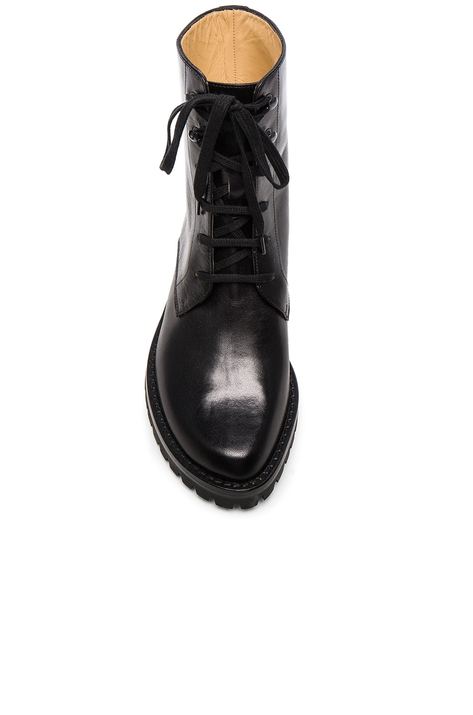 Image 4 of Ann Demeulemeester Leather Combat Boots in Black