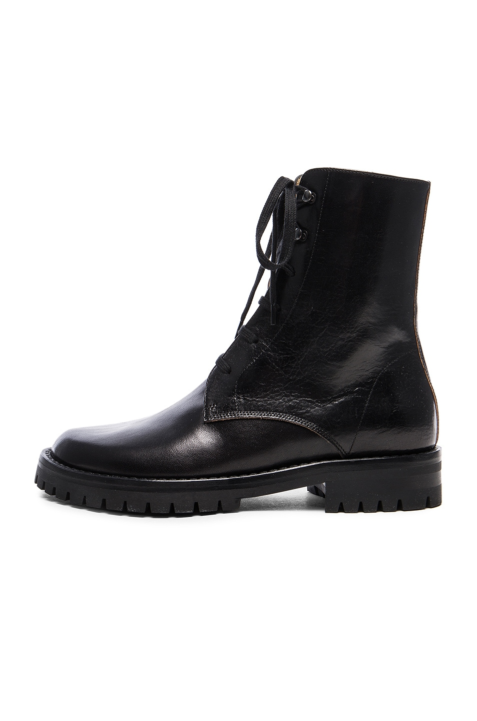 Image 5 of Ann Demeulemeester Leather Combat Boots in Black
