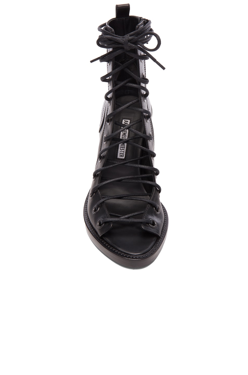 Image 4 of Ann Demeulemeester Lace Up Heels in Black