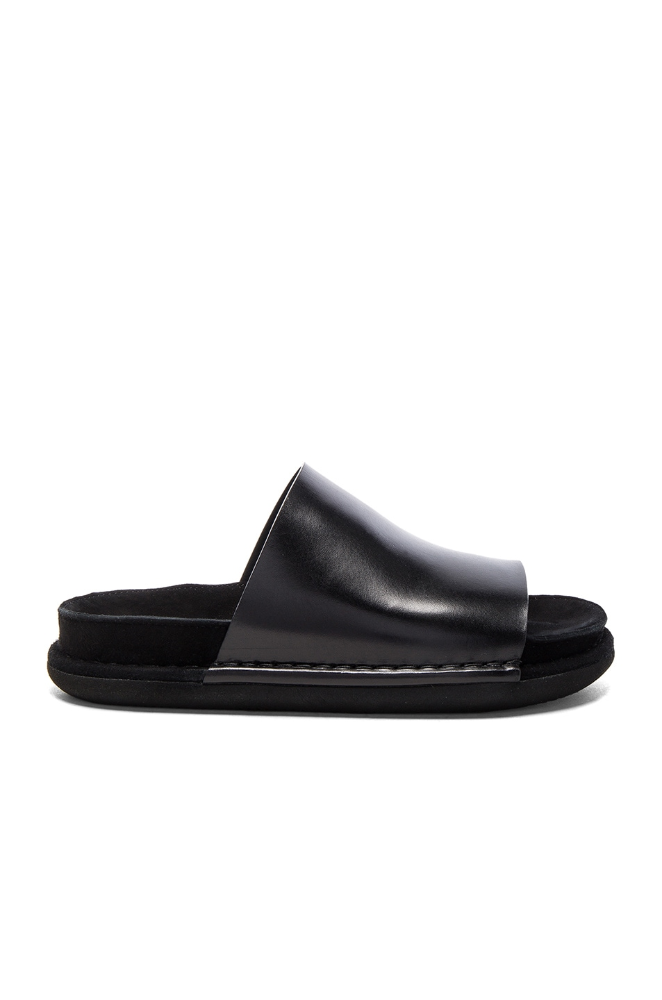 Image 1 of Ann Demeulemeester Leather Mule Sandals in Black
