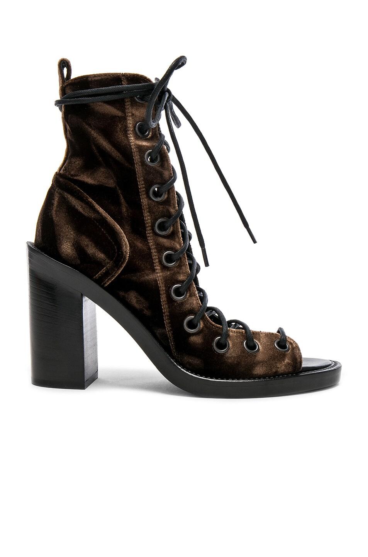 Image 1 of Ann Demeulemeester Velvet Lace Up Heels in Mink