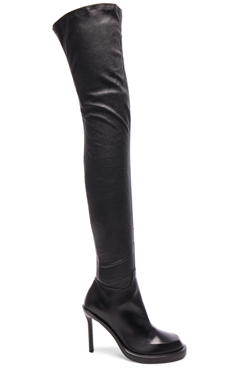 Image 1 of Ann Demeulemeester Over the Knee Leather Boots in Black