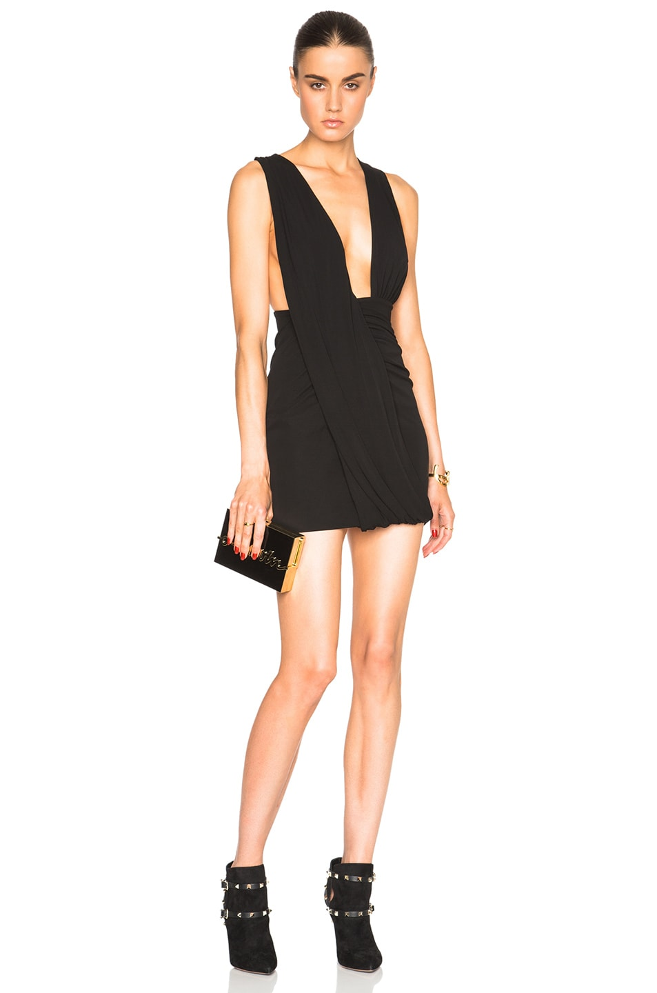Image 1 of Anthony Vaccarello Deep V Sleeveless Jersey Dress in Black