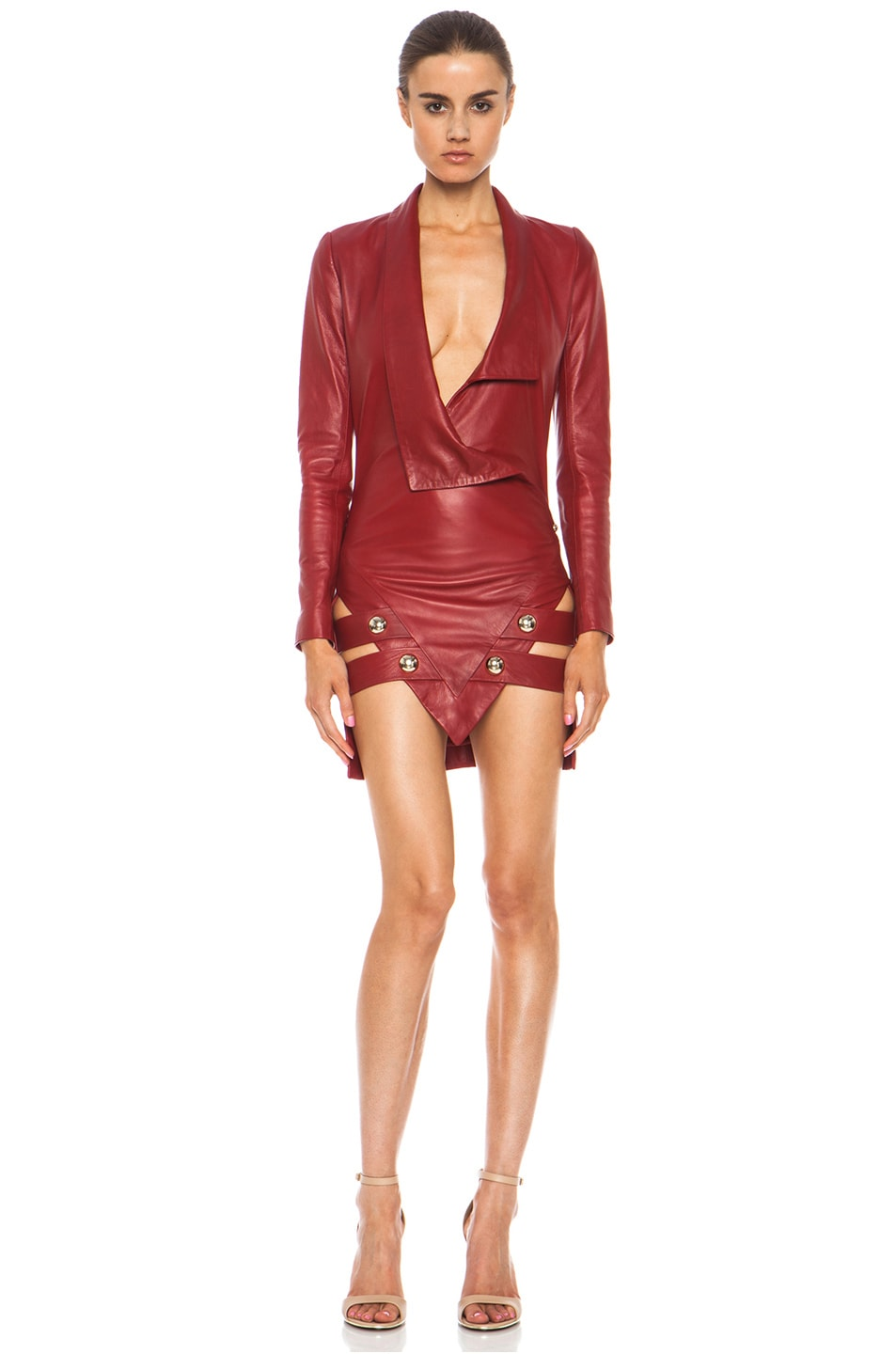 Image 1 of Anthony Vaccarello Sharp Lambskin Leather Jacket Dress in Red