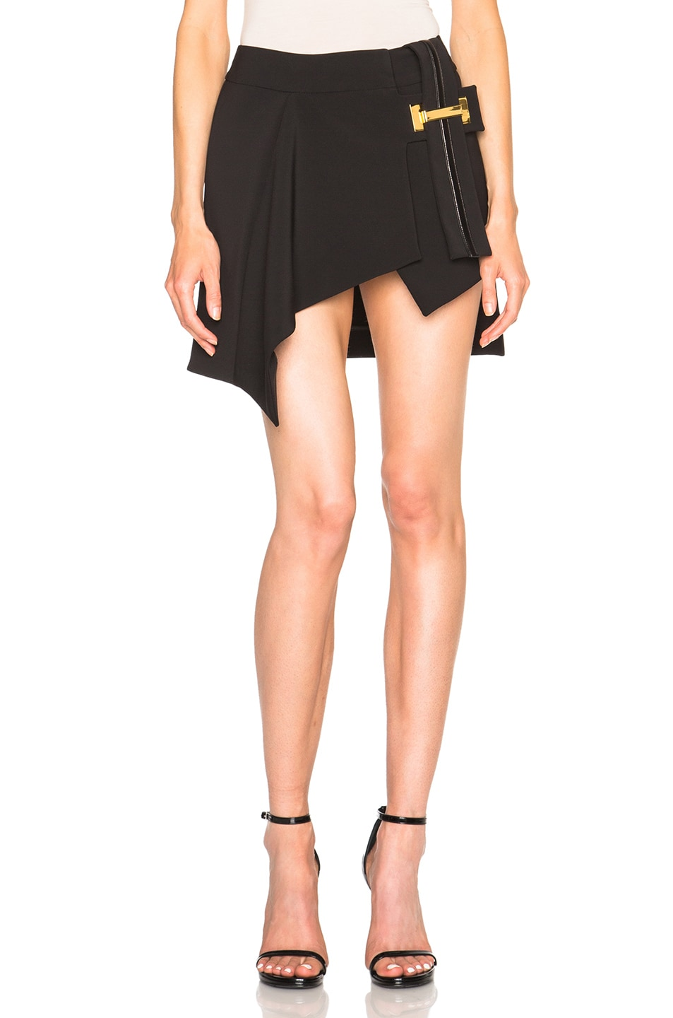 Image 1 of Anthony Vaccarello Vertical Belt Asymmetrical Skirt in Black