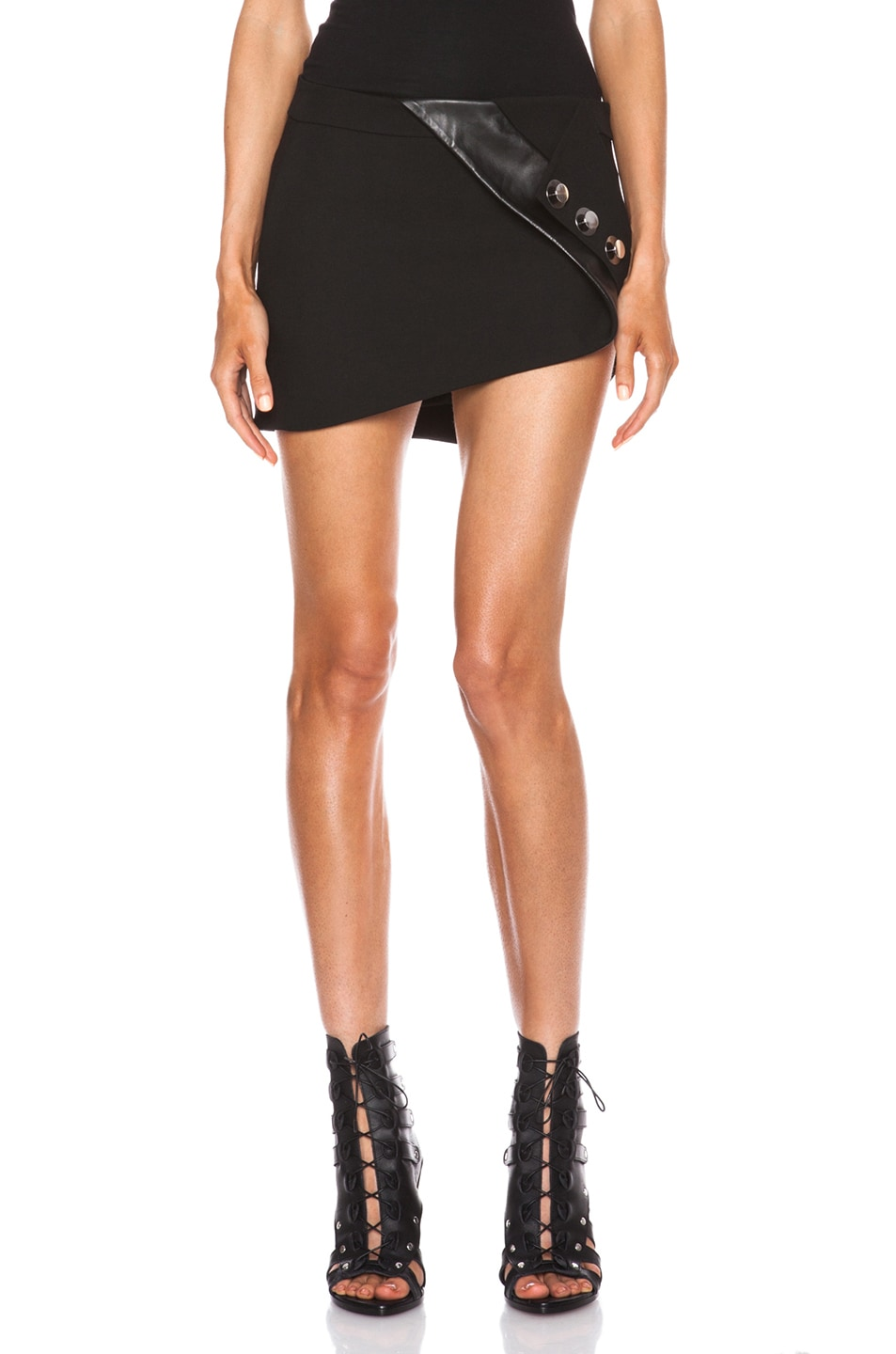 Image 1 of Anthony Vaccarello Buttoned Leather Band Skirt in Black