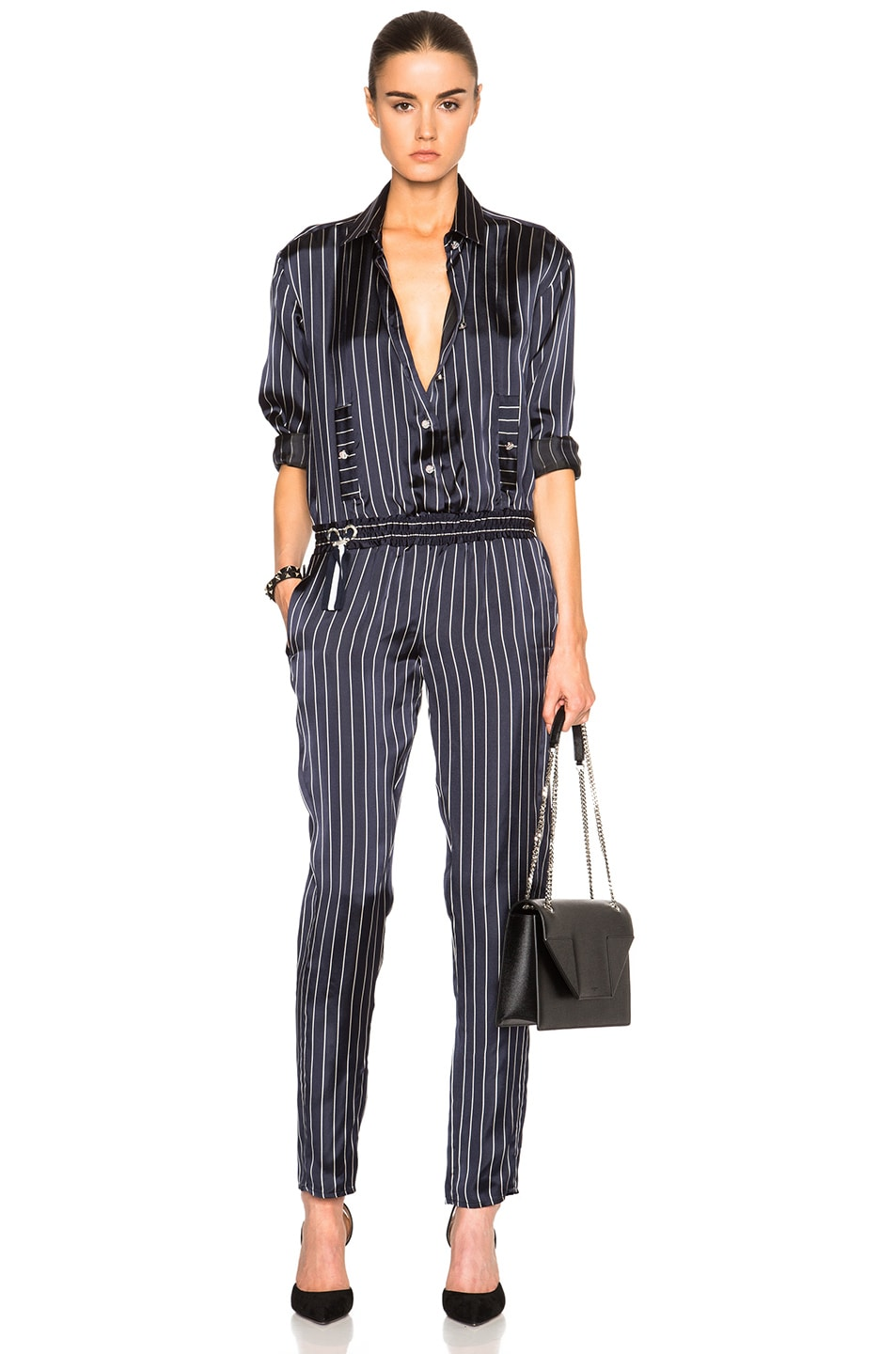 Image 1 of Anthony Vaccarello Long Sleeve Jumpsuit in Striped Marine & White