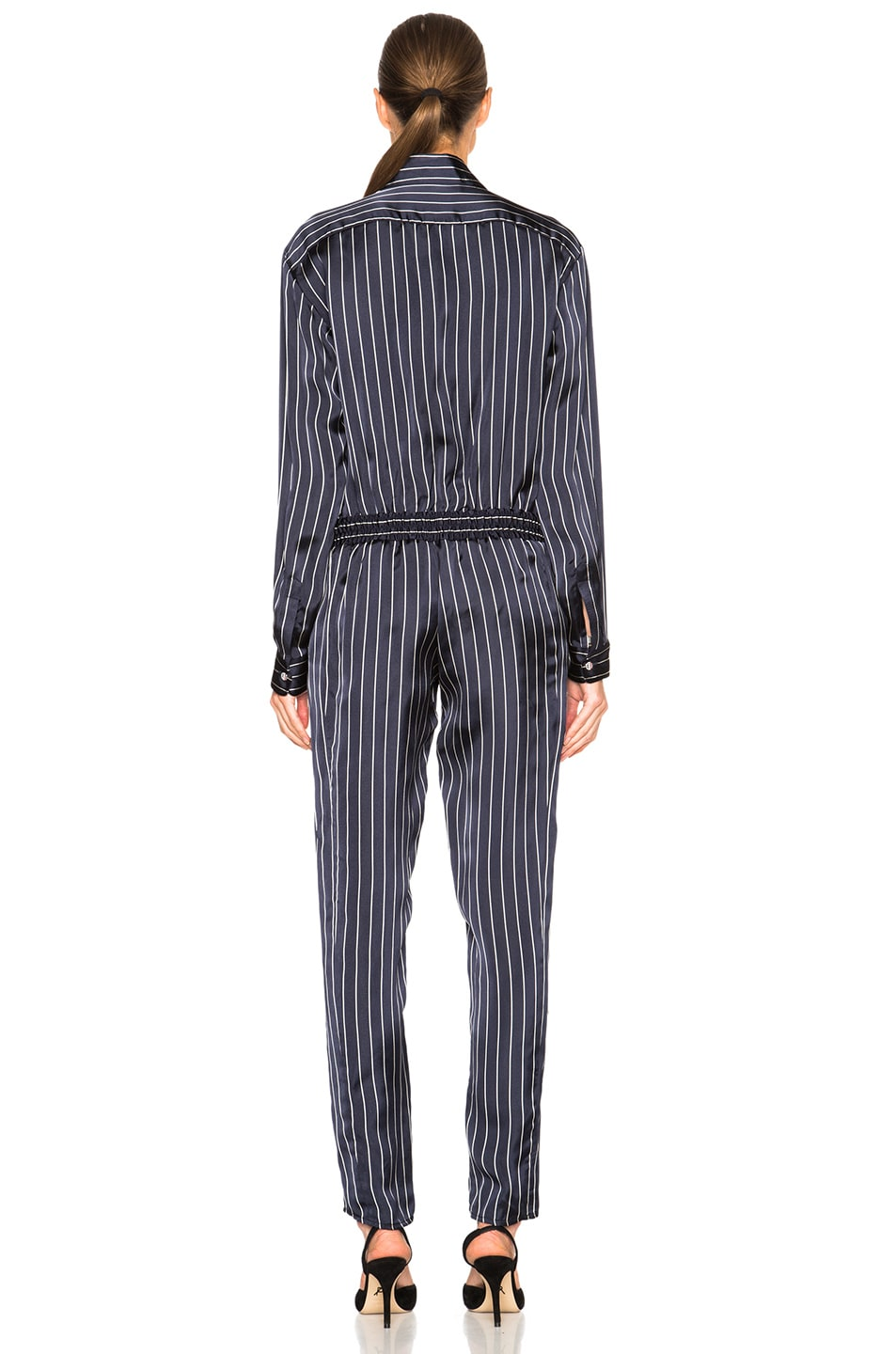 Image 4 of Anthony Vaccarello Long Sleeve Jumpsuit in Striped Marine & White