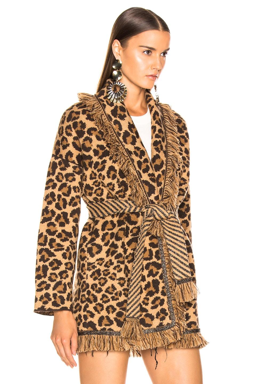 Image 3 of ALANUI Animalier Oversized Jacquard Cardigan in Cinnamon & Black