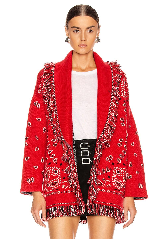 Image 2 of ALANUI Bandana Cardigan in Red