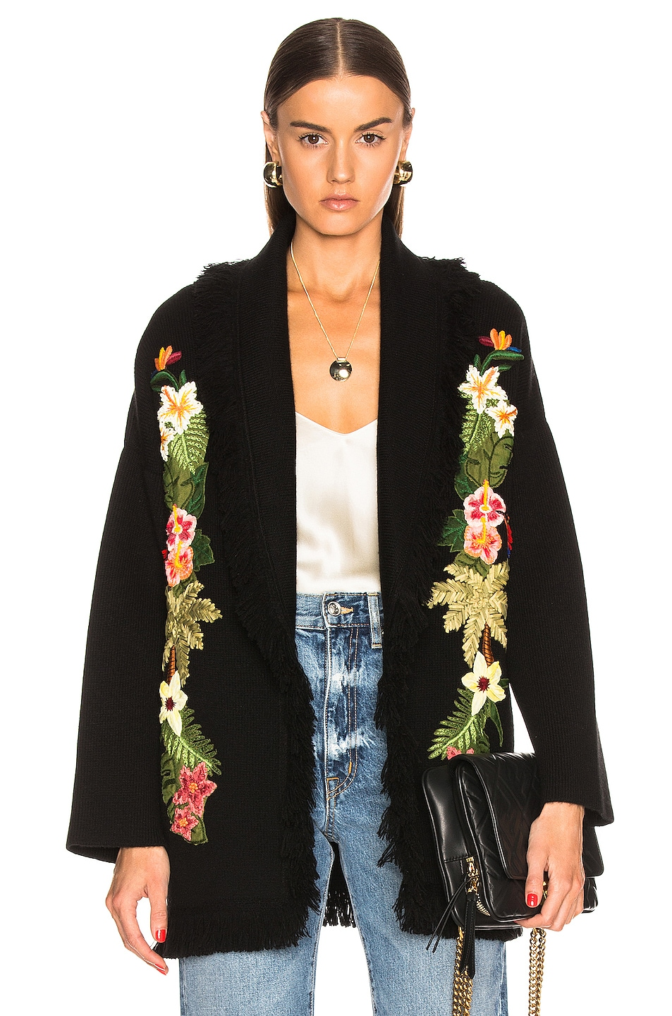 Image 1 of ALANUI Hawaiian Nature Embroidered Cardigan in Black