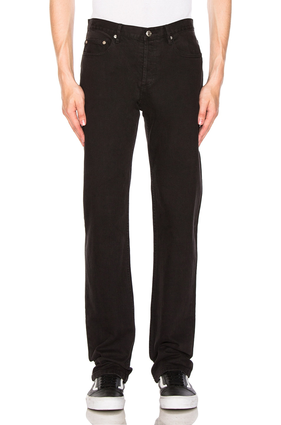 Petit Standard Slim Fit Jeans In Noir in Black