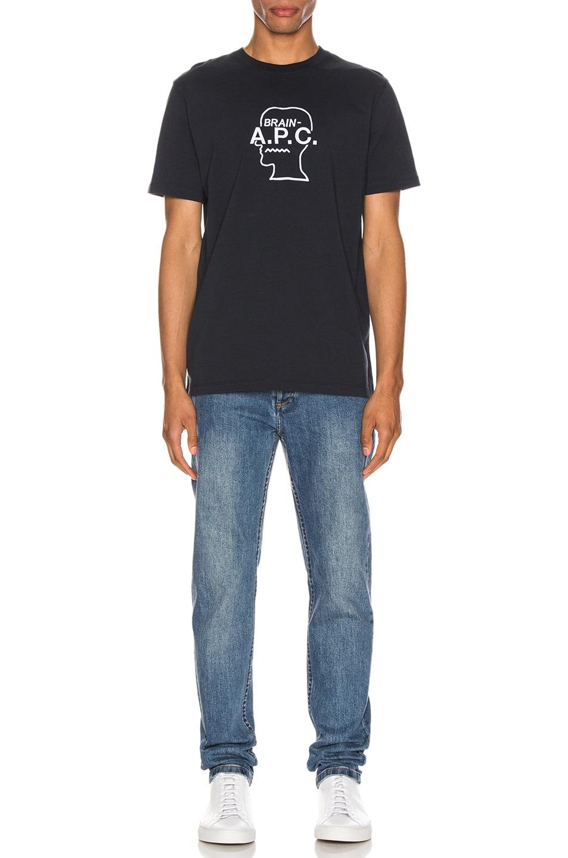 Image 4 of A.P.C. x Brain Dead Spooky T-Shirt in Dark Navy