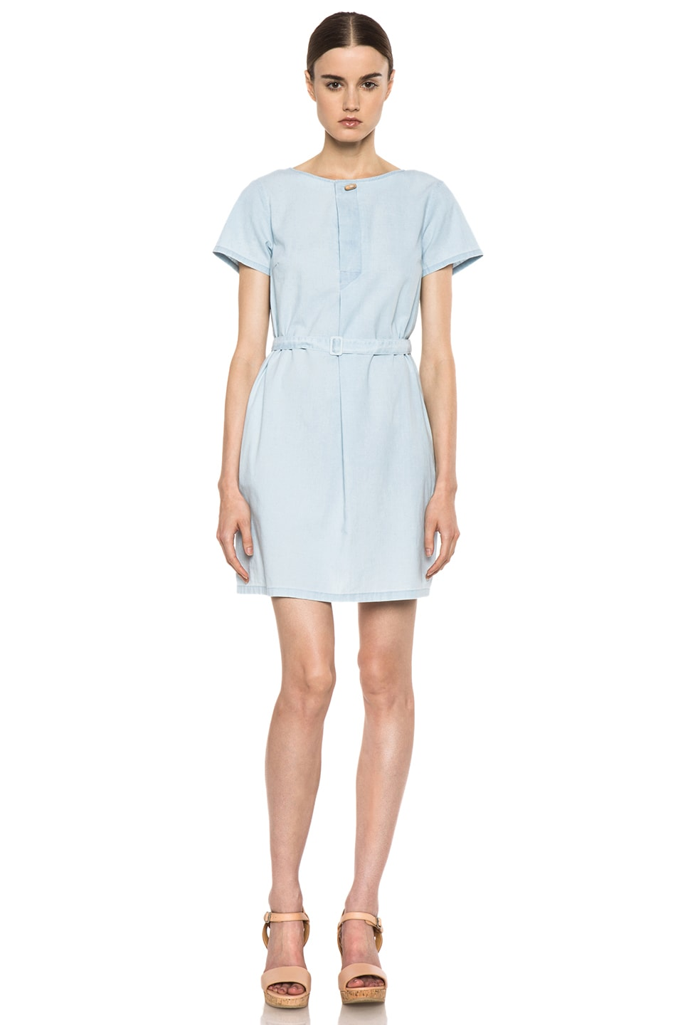 Image 1 of A.P.C. Chambray Dress in Bleu Ciel