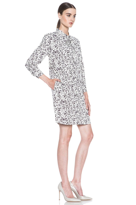 Image 3 of A.P.C. Viscose-Blend Tie-Neck Printed Dress in Ecru